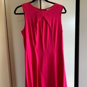 Bright pink dress with keyhole back